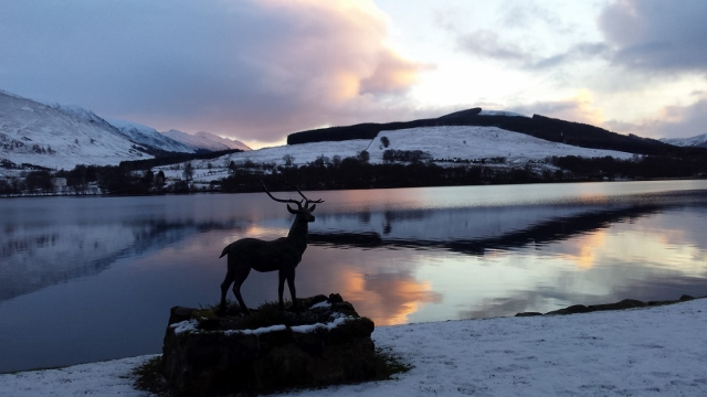 Incredible sunset in snow Loch Earn