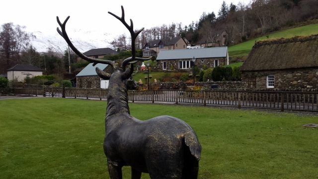Stag statue faces Briar Cottages