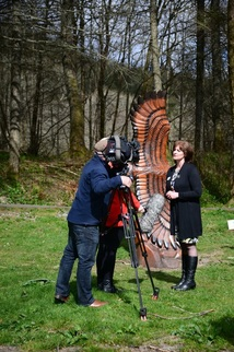 STV news filming Kim re BLiSS art trail