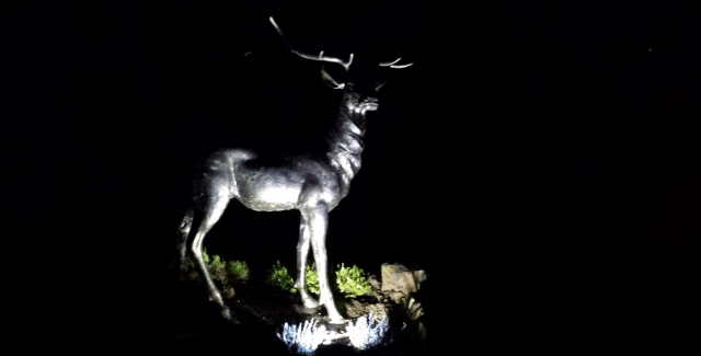Stag sculpture at night Loch Earn