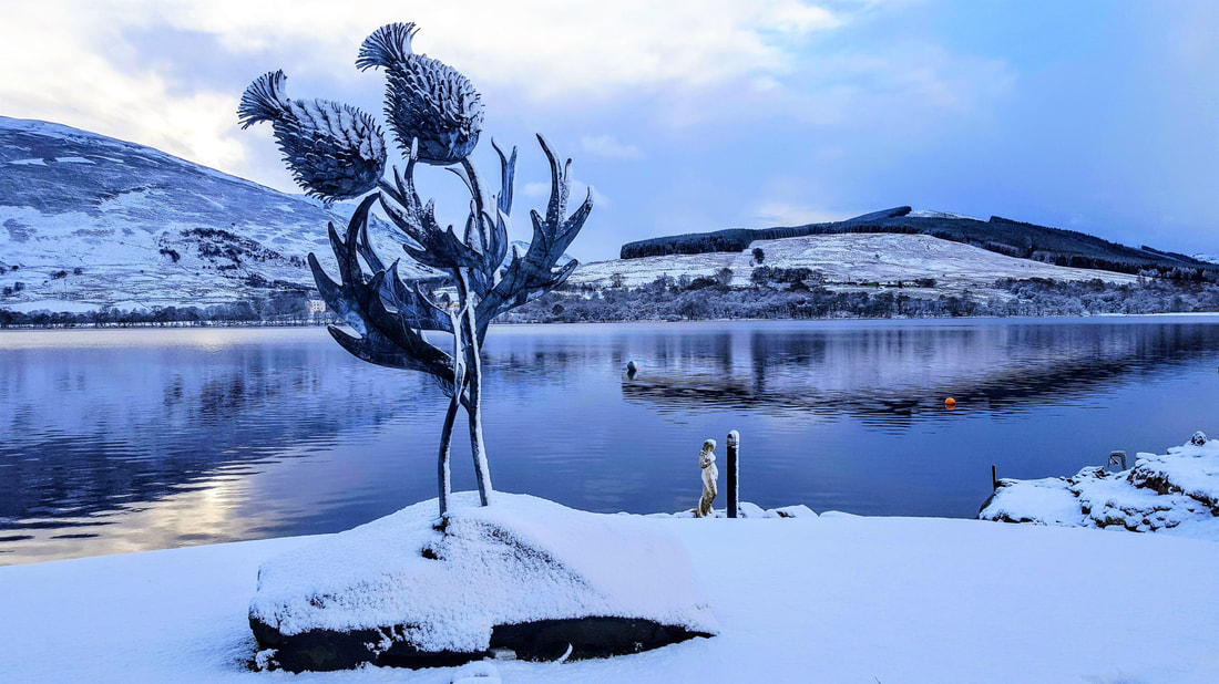 Thistles sculpture at Briar Cottages Lochearnhead
