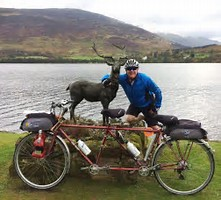 Matilda the tandem with Captain Colin at Stan The Stag, Briar Cottages Lochearnhead on the BLiSS trail