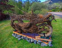 Dragon Bike willow work installation in Lochearnhead byJune McEwan. Photo by Dave Murray @Canniejannie