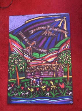 Drawing of ospreys flying over Briar Cottage's thatched roof Lochearnhead -By @JoSunshineArt