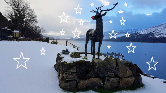 Stan plays Rudolph Loch Earn in snow