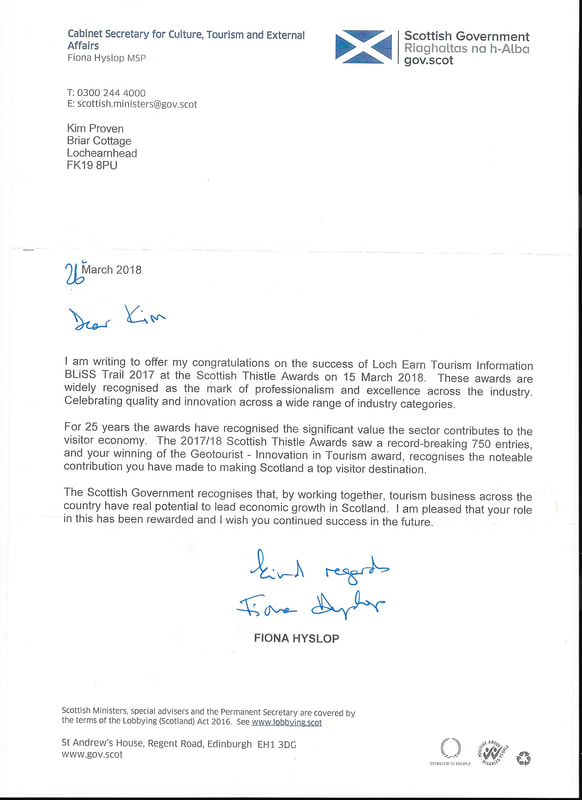 Letter from Cabinet minister for Tourism -Fiona Hyslop