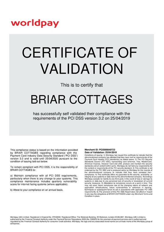 World Pay Credit Card Machine Validation for Briar Cottages -certificate of compliance