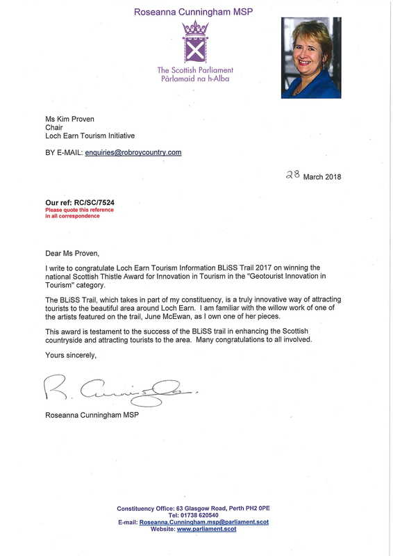 Letter of congratulations from Roseanna Cunningham MSP